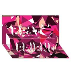 Red broken glass Best Friends 3D Greeting Card (8x4)
