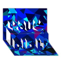 Blue broken glass You Did It 3D Greeting Card (7x5)