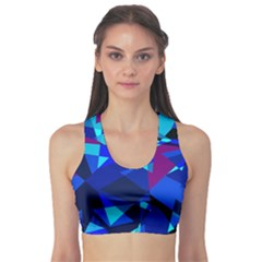 Blue broken glass Sports Bra