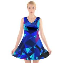 Blue broken glass V-Neck Sleeveless Skater Dress
