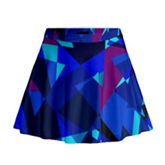 Blue Broken Glass Mini Flare Skirt
