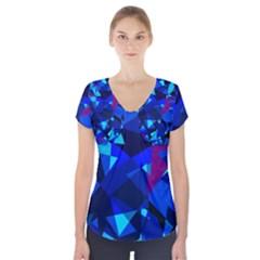 Blue broken glass Short Sleeve Front Detail Top