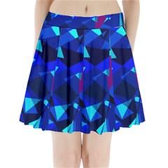 Blue broken glass Pleated Mini Mesh Skirt