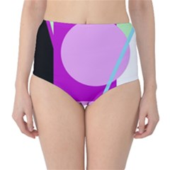 Purple geometric design High-Waist Bikini Bottoms