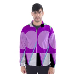 Purple Geometric Design Wind Breaker (men)