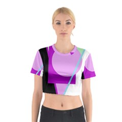 Purple geometric design Cotton Crop Top