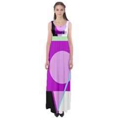 Purple geometric design Empire Waist Maxi Dress