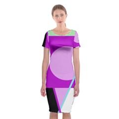 Purple geometric design Classic Short Sleeve Midi Dress