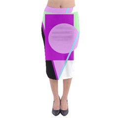 Purple geometric design Midi Pencil Skirt