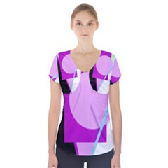 Purple geometric design Short Sleeve Front Detail Top