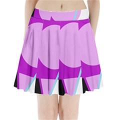 Purple geometric design Pleated Mini Mesh Skirt