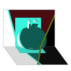 Geometric abstract design Apple 3D Greeting Card (7x5)