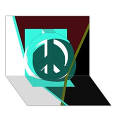 Geometric abstract design Peace Sign 3D Greeting Card (7x5)