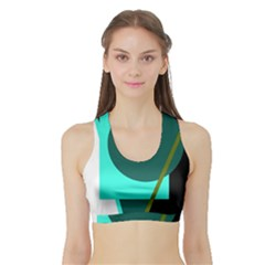 Geometric abstract design Sports Bra with Border