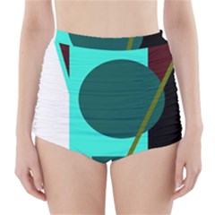 Geometric Abstract Design High Waisted Bikini Bottoms