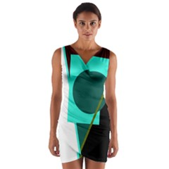 Geometric abstract design Wrap Front Bodycon Dress