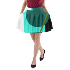 Geometric abstract design A-Line Pocket Skirt