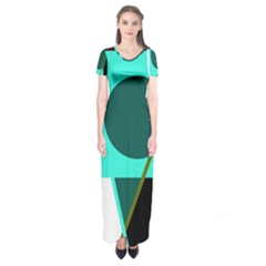 Geometric abstract design Short Sleeve Maxi Dress