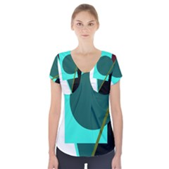 Geometric abstract design Short Sleeve Front Detail Top