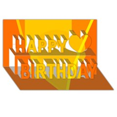 Orange abstract design Happy Birthday 3D Greeting Card (8x4)