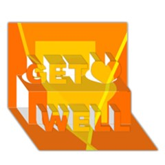 Orange abstract design Get Well 3D Greeting Card (7x5)