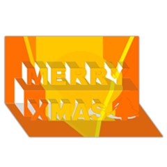 Orange abstract design Merry Xmas 3D Greeting Card (8x4)