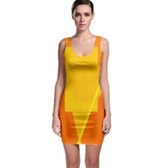 Orange abstract design Sleeveless Bodycon Dress