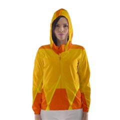 Orange abstract design Hooded Wind Breaker (Women)