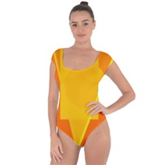 Orange abstract design Short Sleeve Leotard