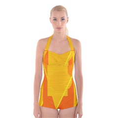 Orange abstract design Boyleg Halter Swimsuit