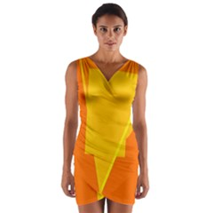 Orange abstract design Wrap Front Bodycon Dress