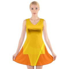Orange Abstract Design V Neck Sleeveless Skater Dress
