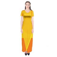 Orange abstract design Short Sleeve Maxi Dress