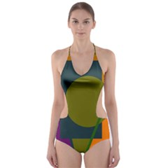 Geometric Abstraction Cut Out One Piece Swimsuit