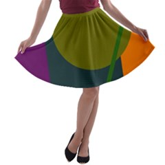 Geometric abstraction A-line Skater Skirt