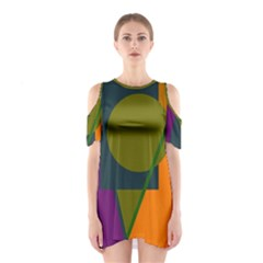 Geometric Abstraction Cutout Shoulder Dress