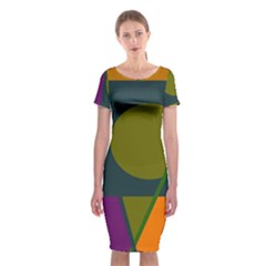 Geometric abstraction Classic Short Sleeve Midi Dress