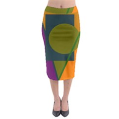 Geometric abstraction Midi Pencil Skirt