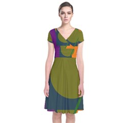 Geometric abstraction Short Sleeve Front Wrap Dress