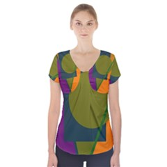 Geometric abstraction Short Sleeve Front Detail Top