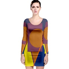 Geometric abstract desing Long Sleeve Bodycon Dress