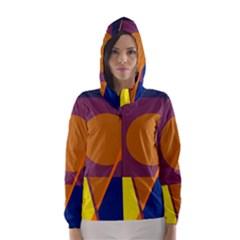 Geometric abstract desing Hooded Wind Breaker (Women)