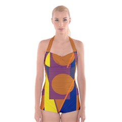 Geometric Abstract Desing Boyleg Halter Swimsuit