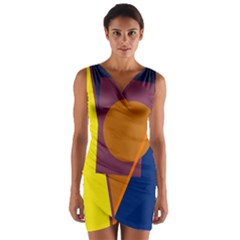 Geometric abstract desing Wrap Front Bodycon Dress