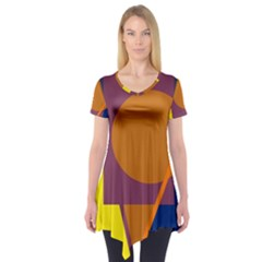 Geometric Abstract Desing Short Sleeve Tunic