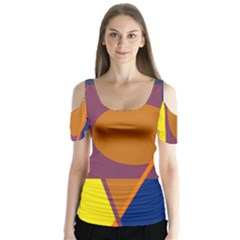 Geometric Abstract Desing Butterfly Sleeve Cutout Tee
