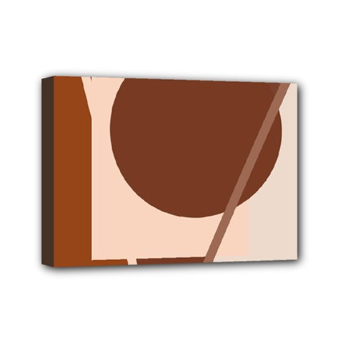 Brown geometric design Mini Canvas 7  x 5