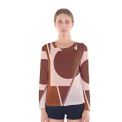 Brown geometric design Women s Long Sleeve Tee