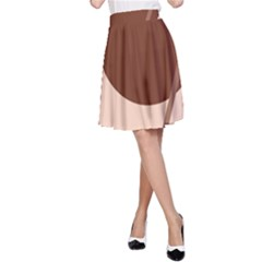 Brown geometric design A-Line Skirt