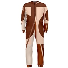 Brown geometric design OnePiece Jumpsuit (Men)